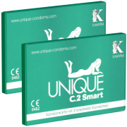 Kamyra «Unique C.2 Smart» Doppelpack - 2 Kondomkarten mit je 3 latexfreien PRE-ERECTION-Kondomen